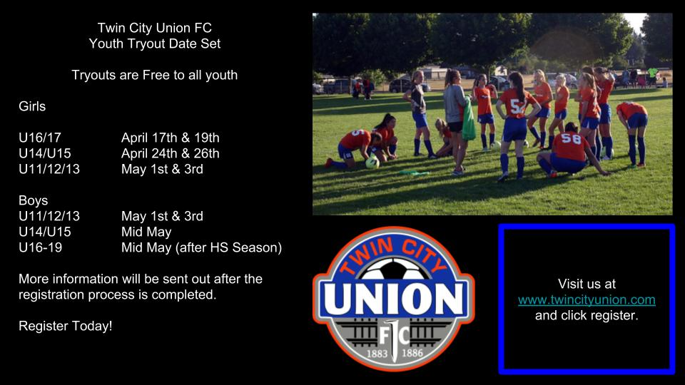 Twin City Union FC Youth Tryout Dates Set